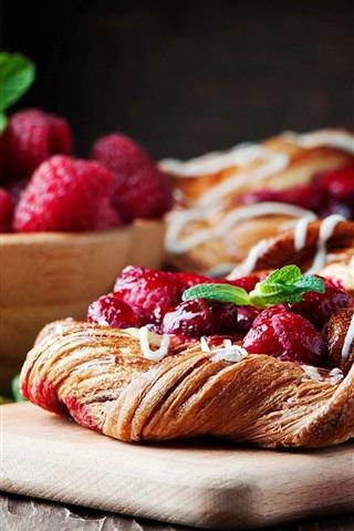 iPhone Wallpaper Raspberry, berries, bread
