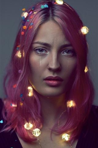 iPhone Wallpaper Red hair girl, lights, sadness