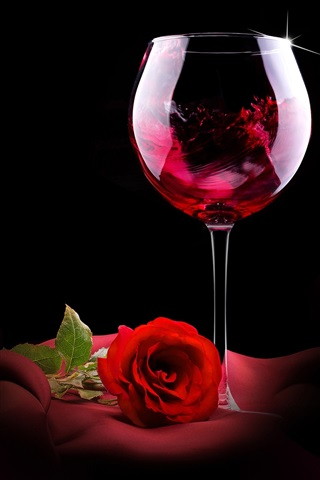 iPhone Wallpaper Red wine, rose, romantic