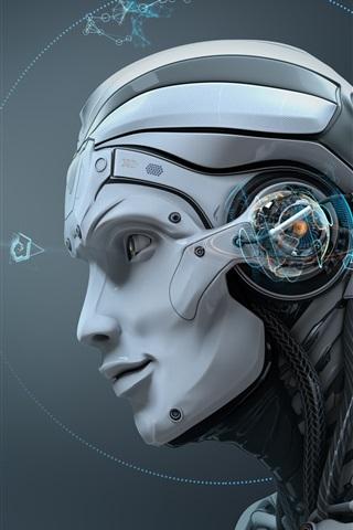 iPhone Wallpaper Robot, skull, creative design
