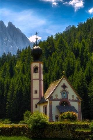iPhone Wallpaper Santa Maddalena, Italy, Dolomites, mountains, trees, church