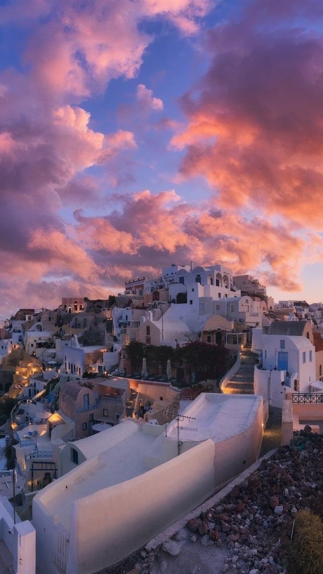 Santorini Greece City Dusk Clouds 640x1136 Iphone 5 5s