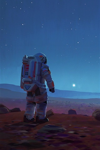 iPhone Wallpaper Sci-Fi picture, spaceships, astronaut, stars, space