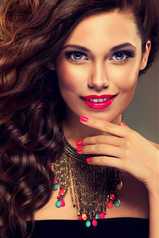 Smile Fashion Girl Curly Hair Makeup 750x1334 Iphone 8 7 6 6s Wallpaper Background Picture Image