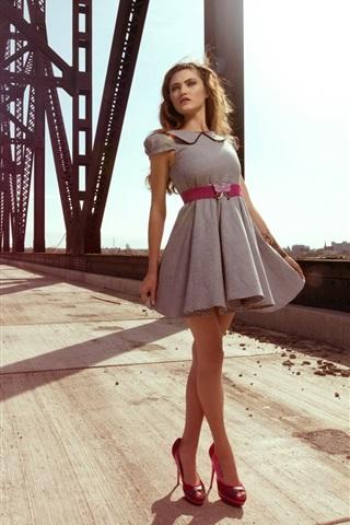 iPhone Wallpaper Summer, short skirt girl, bridge