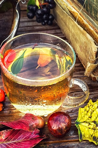iPhone Wallpaper Tea, berries, book, leaves, still life