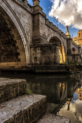 iPhone Wallpaper Tiber river, Rome, Italy, castle, clouds