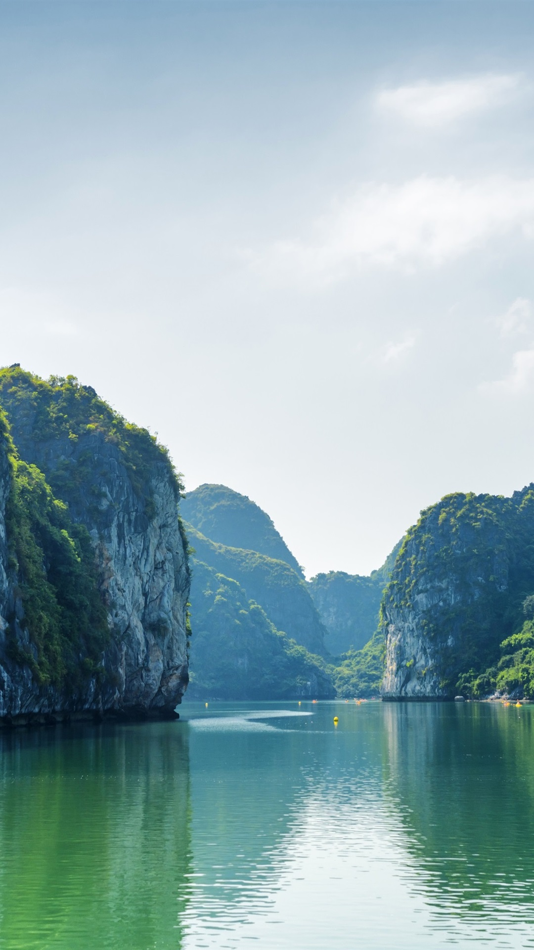 Wallpaper Vietnam, Halong Bay, sea, mountains, clouds, boat 3840x2160 UHD 4K Picture, Image