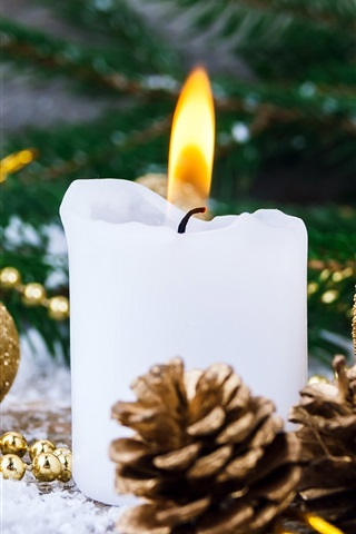White Candle Flame Christmas Balls 1080x1920 Iphone 8 7 6