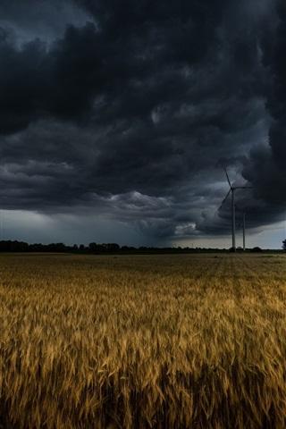 iPhone Wallpaper Windmill, fields, clouds, storm