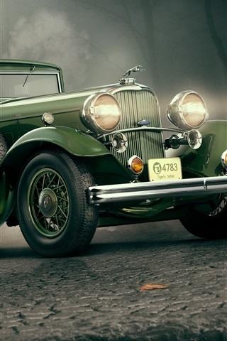 iPhone Wallpaper 1932 Lincoln KB green car