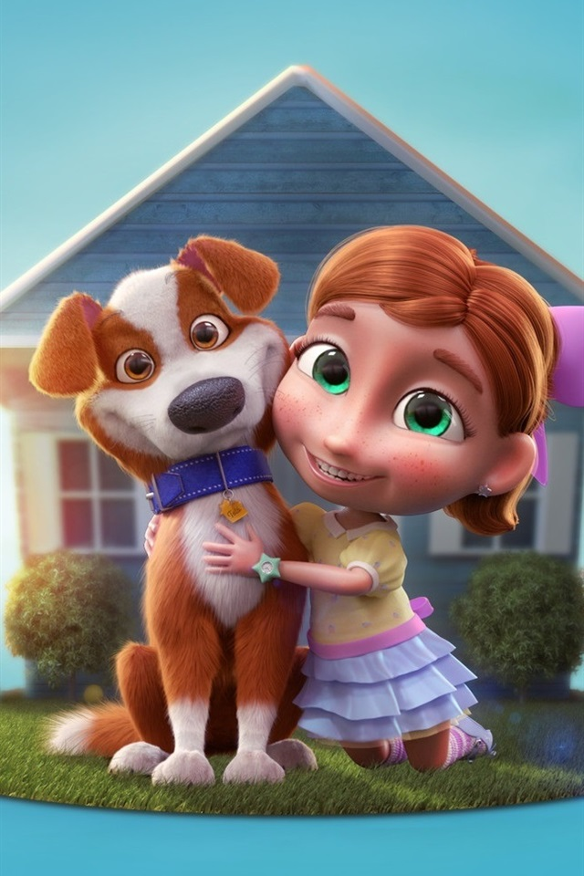 3d Cartoon Child Girl And Dog House 640x960 Iphone 4 4s