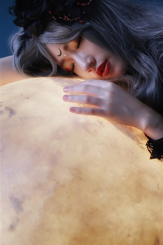iPhone Wallpaper Asian girl and moon, art photography