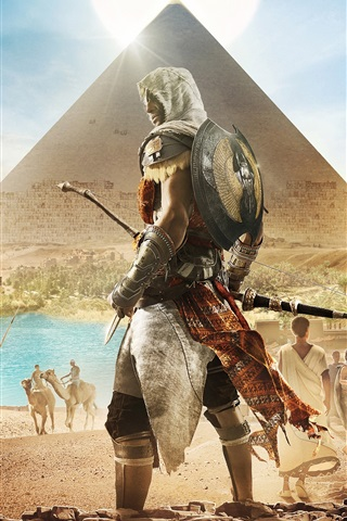 iPhone Wallpaper Assassin's Creed: Origins, Egypt, Pyramid