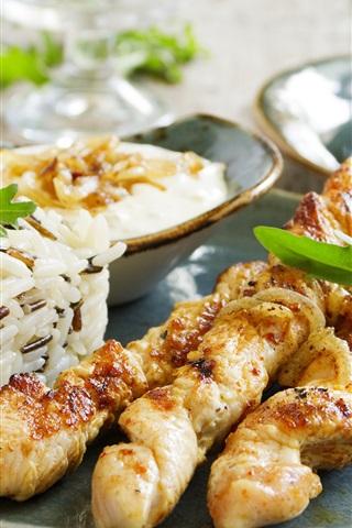 iPhone Wallpaper Barbecue, kebab, rice, food