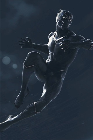 iPhone Wallpaper Black Panther, jump, rainy, art picture