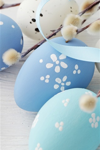 iPhone Wallpaper Blue eggs, Happy Easter