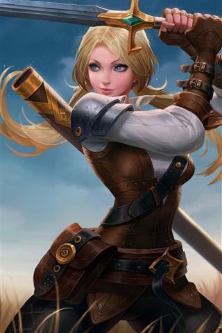 iPhone Wallpaper Blue eyes fantasy girl, sword, grass