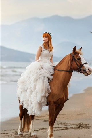 iPhone Wallpaper Bride, girl, horse, beach, sea