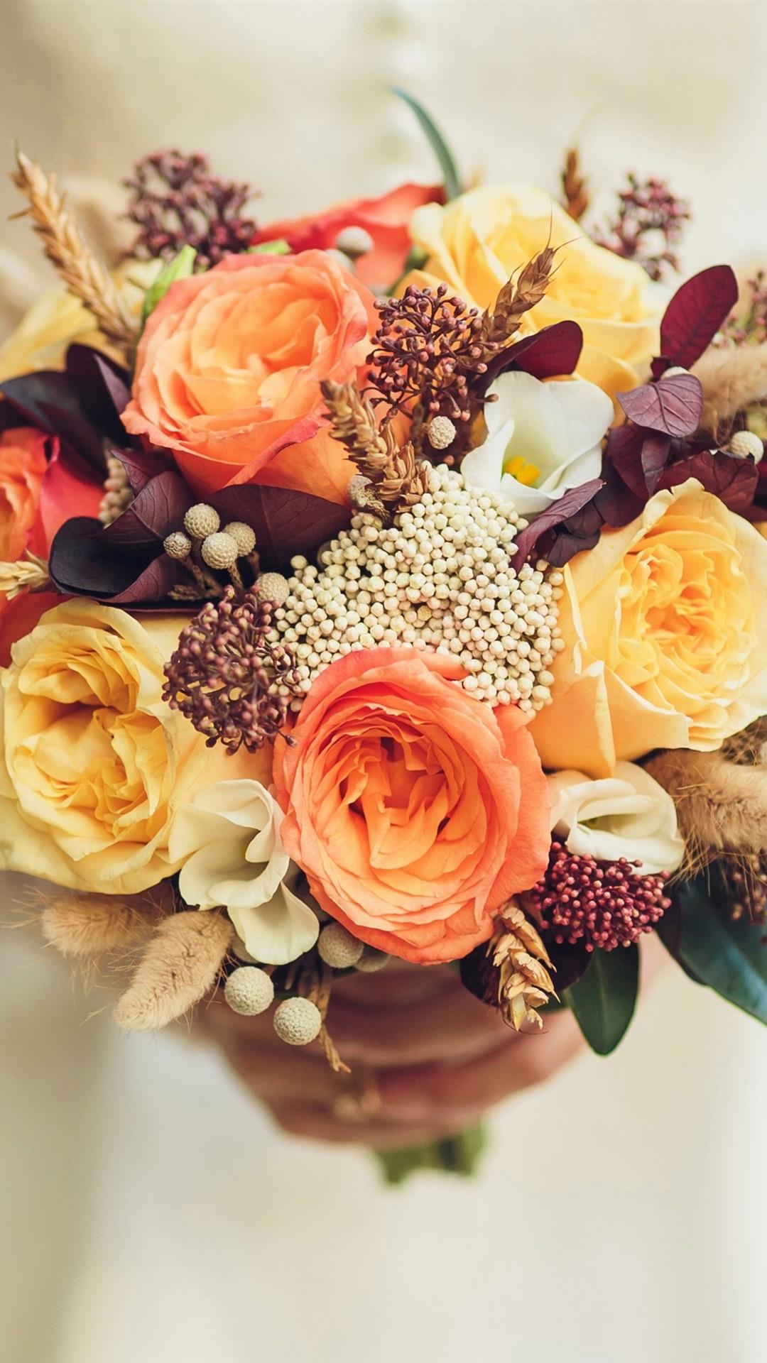 Bride Wedding Bouquet Flowers Rose 1080x1920 Iphone 87