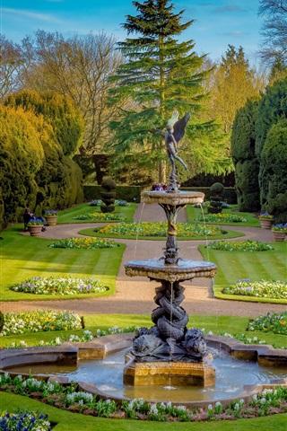 iPhone Wallpaper Buckinghamshire, England, park, bushes, trees, lawn