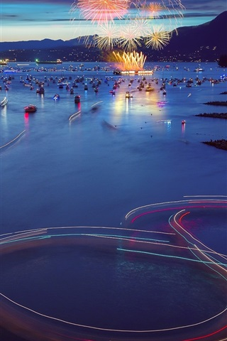 iPhone Wallpaper Canada, Vancouver, city evening, boats, bay, fireworks, lights