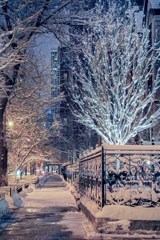 iPhone Wallpaper Chicago, Illinois, winter, snow, trees, street, city night, USA