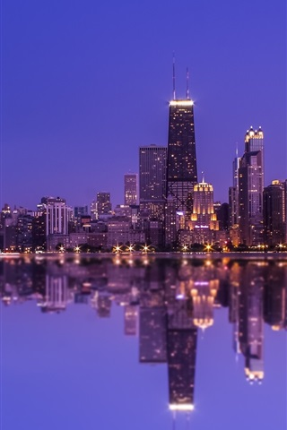 iPhone Wallpaper Chicago, water reflection, skyscrapers, lights, night, North Michigan, USA