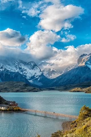 iPhone Wallpaper Chile, mountains, houses, bridge, lake