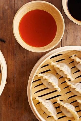 iPhone Wallpaper Chinese food, dumplings, sticks