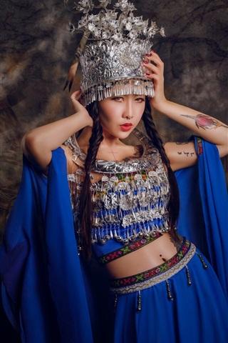 iPhone Wallpaper Chinese girl, tattoo, headdress, blue dress