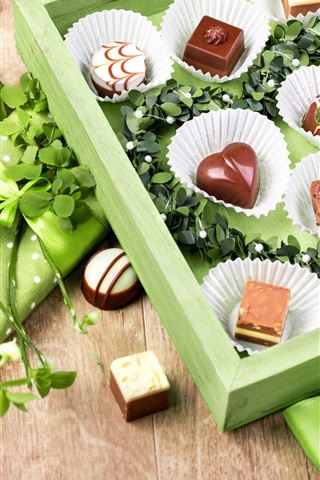 iPhone Wallpaper Chocolate candy, gift, green style