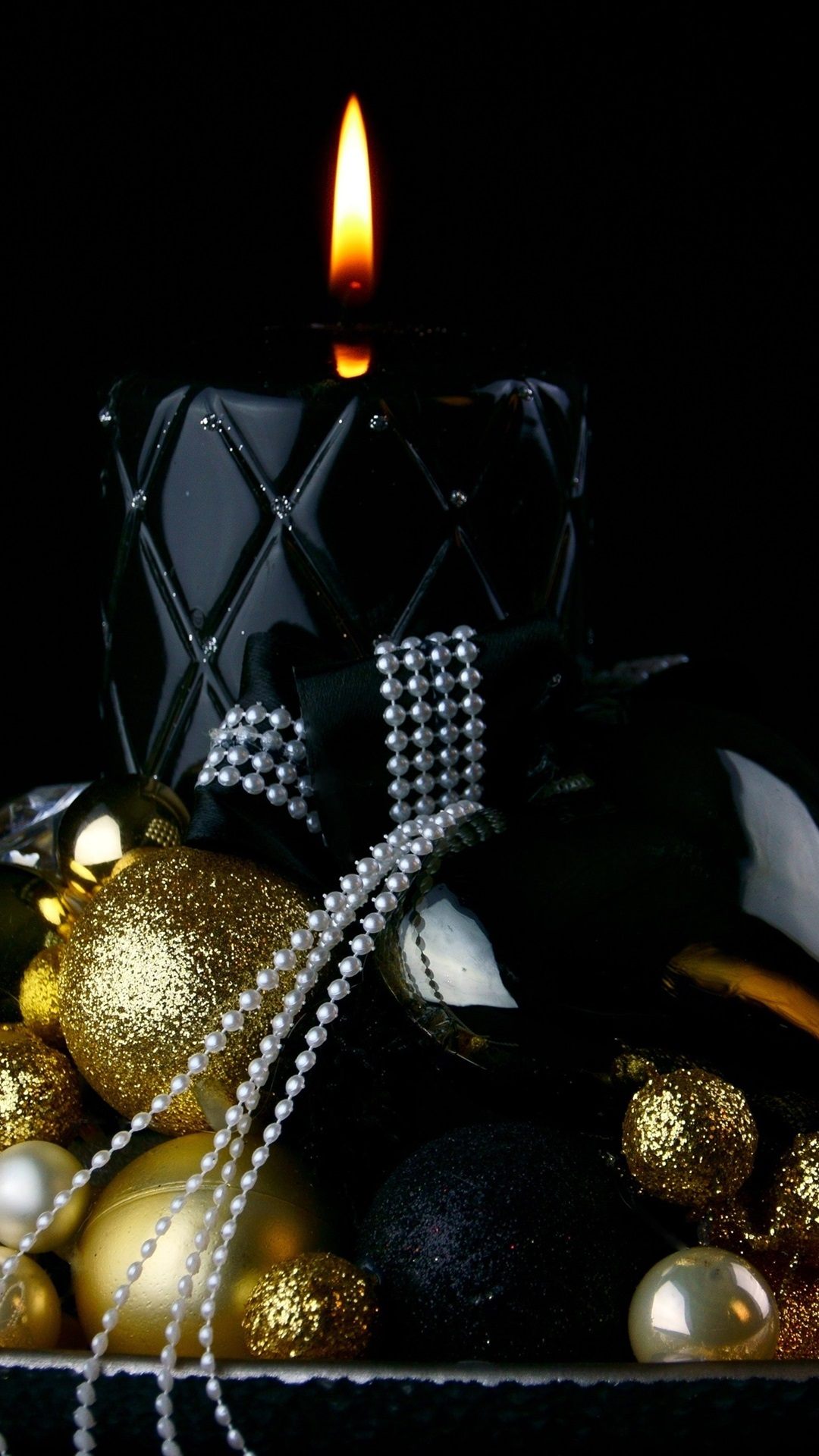 Christmas Balls Candle Flame Black Background 1080x1920
