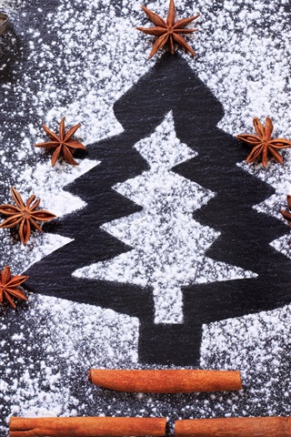 iPhone Wallpaper Christmas tree, flour
