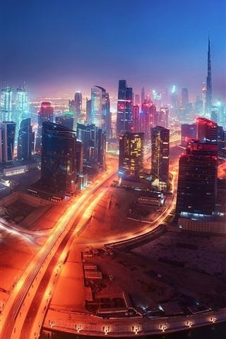 iPhone Wallpaper Dubai, UAE, city night, skyscrapers, roads, illumination