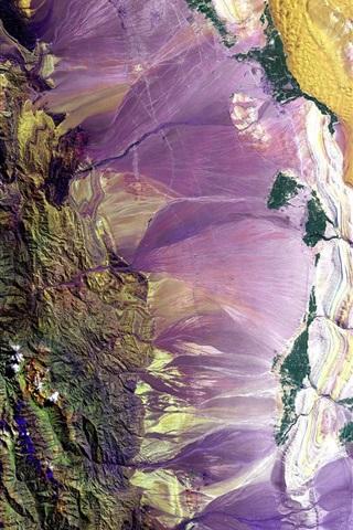 iPhone Обои Земля, горы, красочные цвета, вид сверху, НАСА