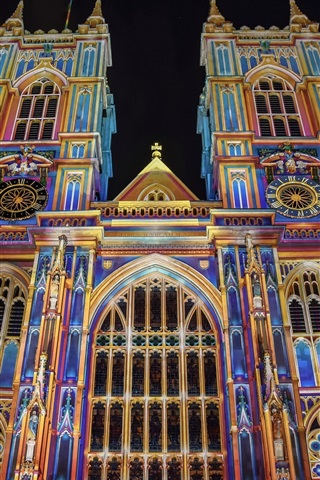 iPhone Wallpaper England, London, Westminster Abbey, colorful, night