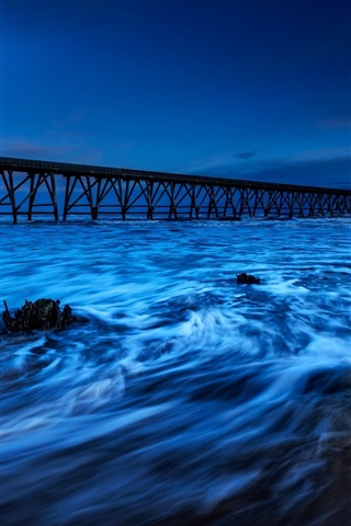 iPhone Wallpaper England, sea, pier, tide, night, blue