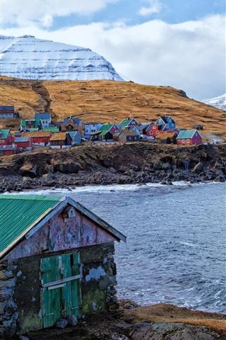 iPhone Wallpaper Faroe Islands, Denmark, houses, colors, mountains, sea