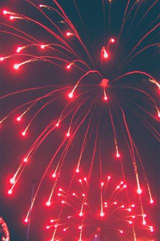 iPhone Wallpaper Fireworks, night, red, festival