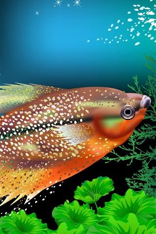 iPhone Wallpaper Fish, corals, underwater, vector picture