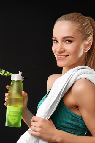 iPhone Wallpaper Fitness girl, smile, drink, gray background