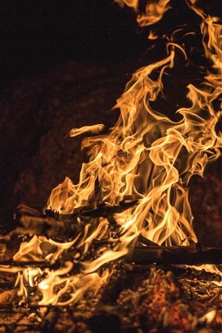 iPhone Wallpaper Flame, fire, firewood, night