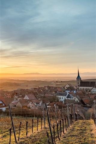 iPhone Wallpaper France, Alsace, Blienschwiller, houses, fields, sunshine