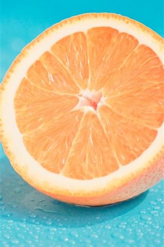 iPhone Wallpaper Fruit, half orange, water drops
