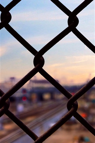 iPhone Wallpaper Grid fence, city