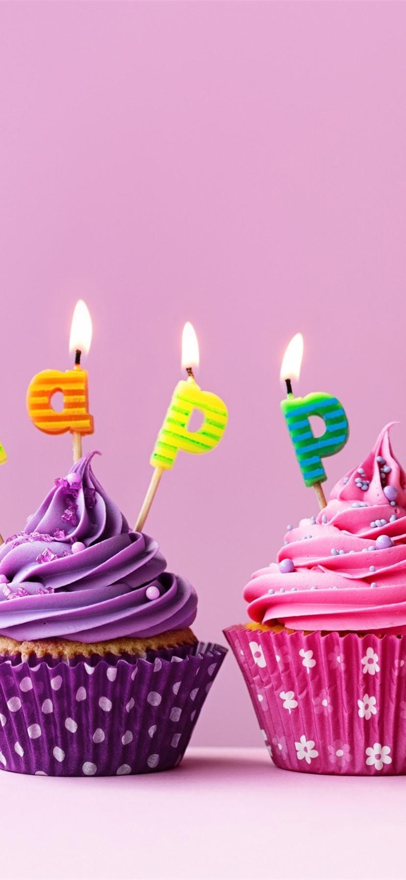 Alles Gute Zum Geburtstag Kuchen Bunte Muffins Kerzen