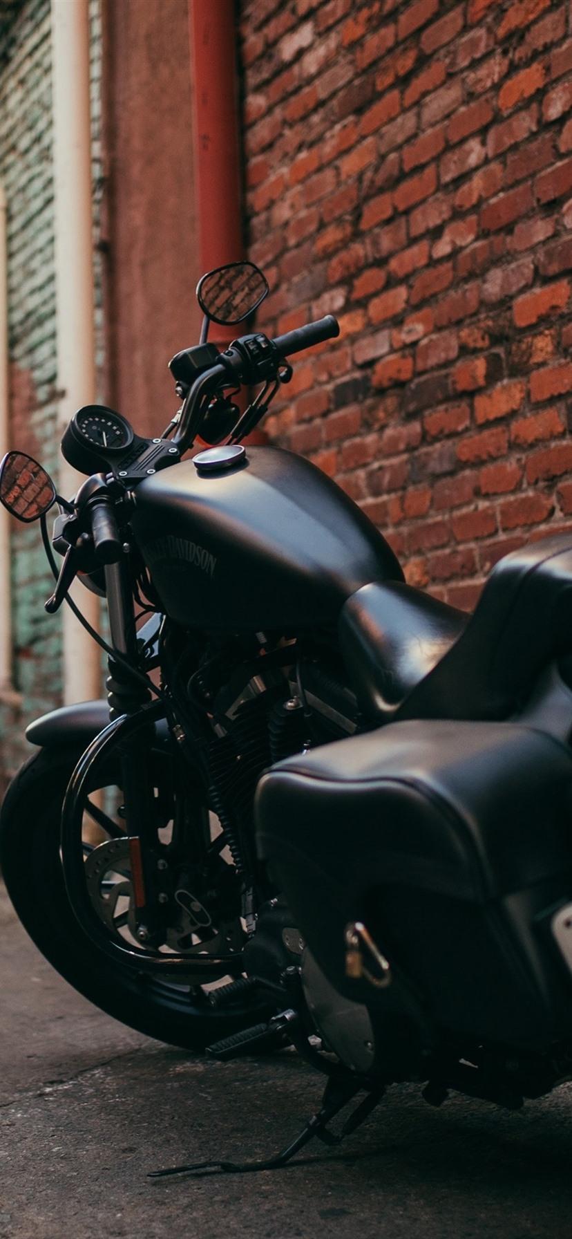 ハーレーダビッドソンブラックオートバイバックビュー パス 1080x19 Iphone 8 7 6 6s Plus 壁紙 背景 画像