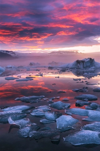 Iceland Fjord Glacier Lagoon Ice Clouds Sunset 640x1136