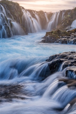 iPhone Wallpaper Iceland, waterfalls, beautiful landscape